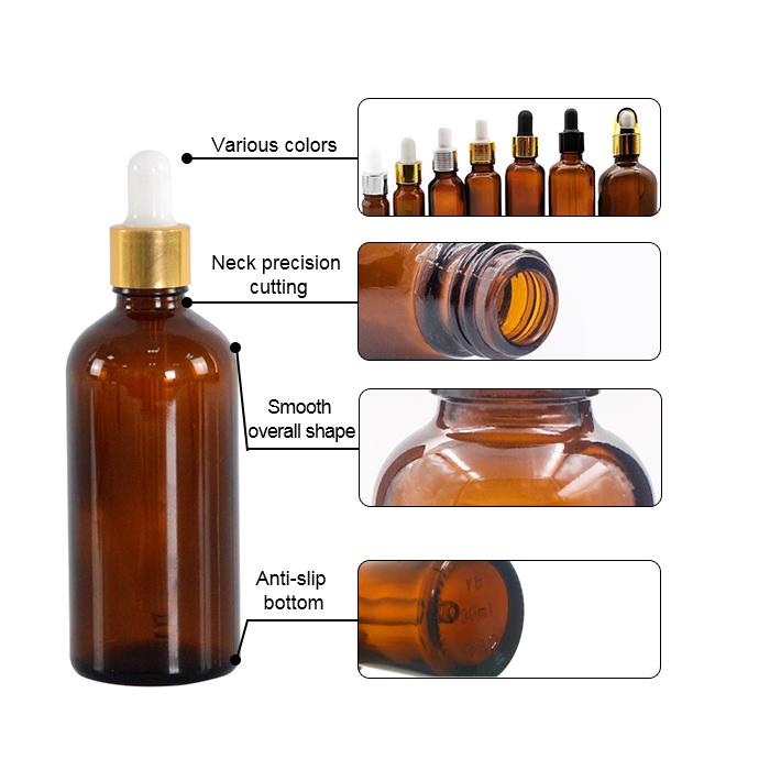 Round essential oil dropper bottle