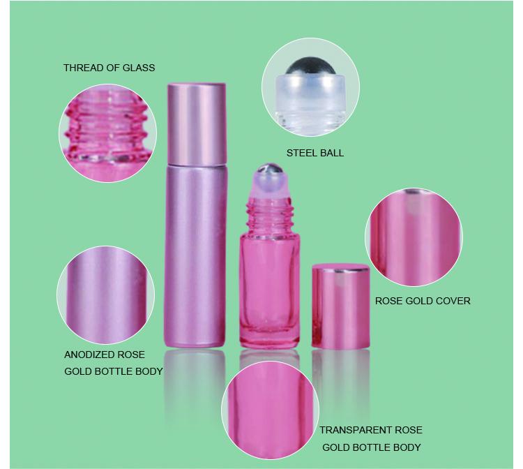 Rose gold essential oil bottle