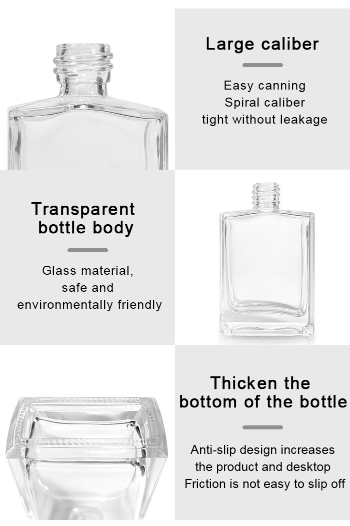 Flat square perfume bottle