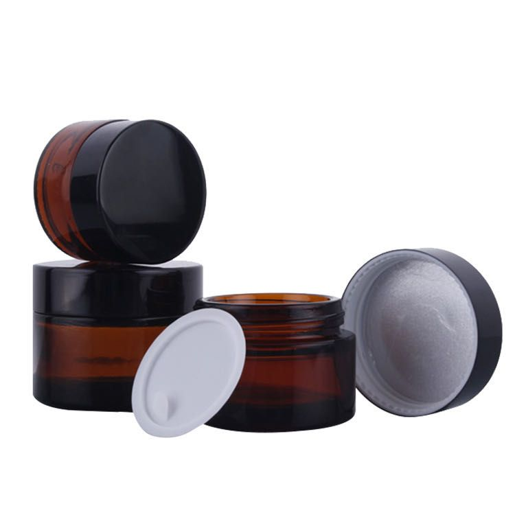 Amber glass cream jar